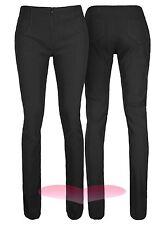 Escuela Negro Pantalones De Trabajo Pantalones De Trabajo Elástico Ajustado de calidad en 3 longitudes de la pierna.