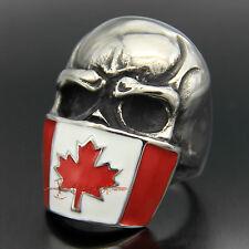 Large Canada Flag Mask Skull Stainless Steel Mens Biker Ring Canadian Maple Leaf