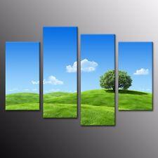 Landscape Canvas Prints Painting Wall Art Green meadow Blue Sky Home Decor 4pcs