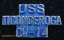 USS TICONDEROGA CV-14 SCRIPT HAT PIN CARRIER CVA CVS US NAVY NAS PILOT TIE TAC