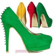 Chaussures pour femmes éscarpins en daim clous hauts talons plateau neuf H16