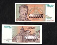 BANCONOTA YUGOSLAVIA 5000000  DINARA  FDS BANKNOTE UNC BELLA NICE