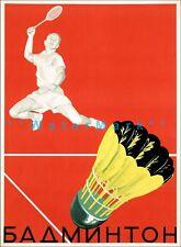 Badminton Sport 1953 Russia Vintage Poster Print Retro Style Art Sports Decor