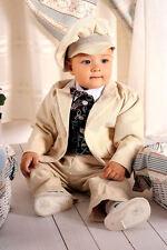 ABITO DA BATTESIMO maschietto vestito cerimonia VELLUTO panna tg 62-98 cod 326