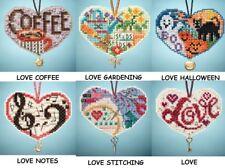 Mill Hill I LOVE Charmed Ornaments Cross Stitch Kits HALLOWEEN,GARDENING,COFFEE