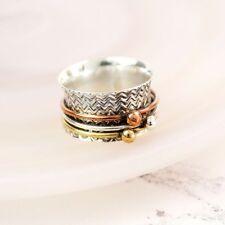 Spinner Ring Sterling Silver & Brass Copper spinning band ring thumb finger