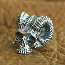 925 Sterling Silver Horned Demon Skull Ring Mens Biker Punk Gothic Ring TA114B