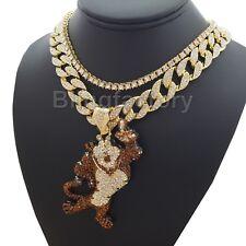 "Cuban & 1 Row Diamond Choker Chain Set Hip Hop Tony Tiger Pendant 18"" Full Iced"