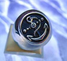 Anello in acciaio inox anello con sigillo Stainless Steel Military Marine Ancoraggio anchor con corda