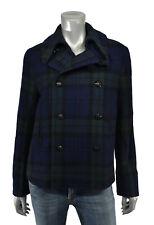 Lauren Polo Ralph Lauren Navy Wool Tartan Cropped Peacoat Jacket New $425
