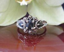 Ring Saphir blau - Stein des September - und Markasit in Sterling Silber 925