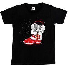 Cute Kitten Wearing Mittens Sat In Santa's Shoes Kids Boys / Girls T-Shirt