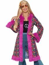 Womens 60s Pink Psychedelic Hippie Hippy Coat Fancy Dress Costume
