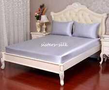 4pc 22MM 100% Silk Fitted Sheet Flat Sheet Pillow Case Bed Linen Set Seamless
