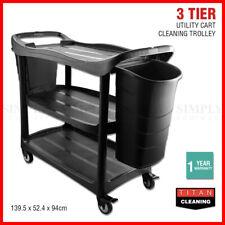 3 Tier Service Cart Janitor Trolley Cleaning Utility Trolley Shelf Wheels 2 Bins