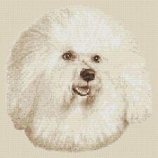 """Bichon frise chien cross stitch design (SEPIA,10 """"x10"""",25 x25cm, Kit ou graphique)"""