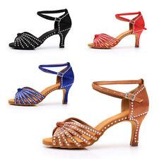 New Women Girl lady's Rhinestone Ballroom Tango Latin Dance Shoes heeled Salsa