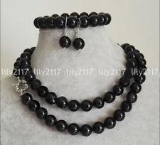 Natural 8/10/12mm Black Agate Onyx Gems Round Bead Necklace Bracelet Earring set