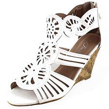 New women's shoes high heel wedge sandal back zipper white casual fashion summer