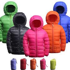 Kids Boys Girls Down Puffer Jacket Ultralight Hooded Short Parka Coat Outerwear