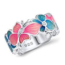 Elegant Flower 925 Silver Wedding Rings Women White Sapphire Ring Size 6-10