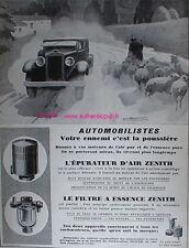 PUBLICITE FILTRE ESSENCE EPURATEUR D'AIR ZENITH 1927 AD