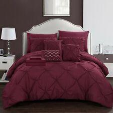 10 Piece Mycroft Pinch Pleat Bed In a Bag Comforter Set sheets Pillows Burgundy