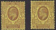 SG 233b/234 3d Pale Purple/Purple on Lemon(Chalk) M20(4/5) pair in lightly mount
