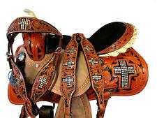 15 16 BARREL SADDLE HORSE TRAIL SHOW RACING WESTERN PLEASURE BLACK PADDED SEAT
