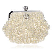 Women's Clutch Pearl Shell Shape Bridal Wedding Party Evening Bag Chain Handbags