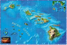 Wide World **HAWAII** USA Physical Wall Map (3 Sizes) Laminated ...Beautiful!