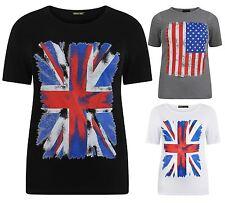 Nouveau Haut Plus Taille américaine, Union Jack Drapeau Impression Tee Tops 12-26