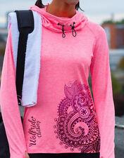 Ladies cowl neck sports, gym, mountain bike, running, training fashion top  pink