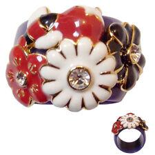 bague anneau plastique décor plaqué or fleurs abeille fruits taille 50
