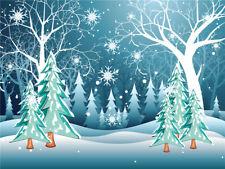 Cartoon Forest Christmas Tree Snowflake Background Xmas Studio Photo Backdrop LB