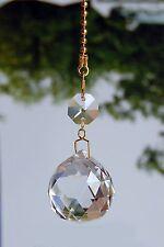 SET OF 2 - LEAD GLASS CRYSTAL BALL- 30 MM - CEILING LIGHTING FAN PULLS