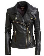 New Women's Black Slim Fit Biker Style Moto Real Leather Jacket