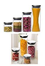 Vorratsdose Glasbehälter stapelbare Edelstahl Anti Rutsch Dose Glas Luftdicht