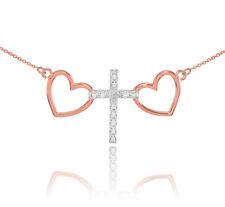 14k Dos Tonos Oro Rosa Corazón Cruz Collar de Diamantes