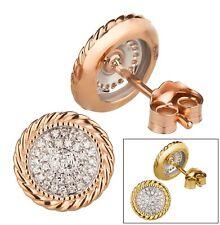 Diamant Ohrstecker 375 Gold Weißgold Rosegold bicolor Brillanten Ohrringe rosé