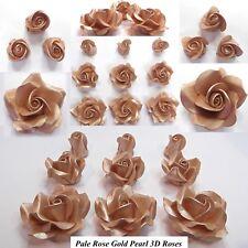 Pale Rose Gold Metallic Pearl Sugar Roses wedding cake decoration 4 SIZES NOWIRE