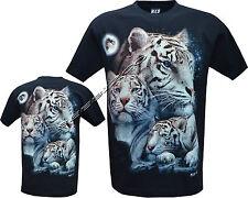 De Nueva Siberia Blanco Bengal Tiger Con Cubs Brillan En La Oscuridad Camiseta M-Xxl