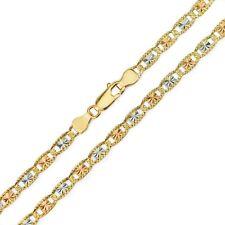 14k Gold Necklace Solid Tri-Color Valentino Chain DiamondCut 1.5mm - 6.0mm