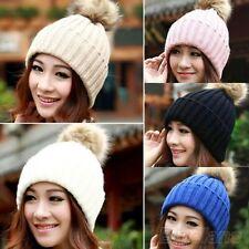 Womens Wool Knitted Fur Pom Pom Beanie Bobble Ski Hat Slouch Cap Unisex Warm