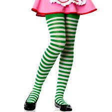 Kelly Green & White Stripe Girls Tights Child Funky Kids Halloween Christmas