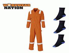 Dickies Cotton Coverall, Reflective Hi Viz Strips, Boiler Suit Orange FREE SOCKS