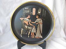 """1 Egyptian Brass Wall Decor Black Plate King Tut Queen Nefertari Design 8.5"""""""