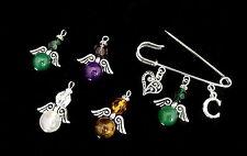 Guardian Angel Kilt Pin Brooch - Gemstone Bead - With Initial - Bag Charm