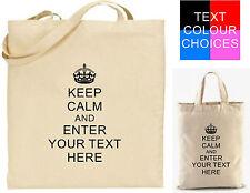 Keep Calm Personalizado Bolsa para la vida Regalo Boda Algodón Camiseta