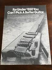 1990 VINTAGE 8X11 PRINT Ad HOHNER PROFESSIONAL HEADLESS GUITARS STEINBERGER
